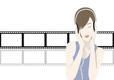 Happy young girl listening to the music Stock Photo