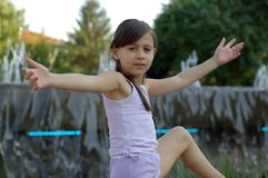 Happy young girl outdoors Royalty Free Stock Photos
