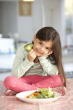 Happy Young Girl With Plate Of Fresh Vegetables Stock Image