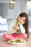 Happy Young Girl With Plate Of Fresh Vegetables Stock Photo