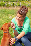 Happy young girl is playing her dog Royalty Free Stock Photo