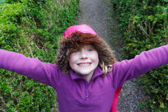 Happy Young Girl Playing Outside royalty free stock images