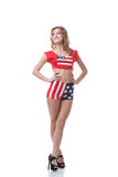 Happy young girl posing in patriotic costume Stock Photography