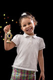 Happy Young Girl with Ramadan Lantern Stock Image