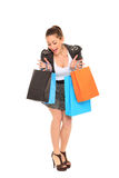 Happy young girl shopping. Happy young girl goes for shopping Royalty Free Stock Photos