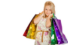Happy young girl shopping Royalty Free Stock Photo