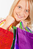 Happy young girl shopping Stock Images