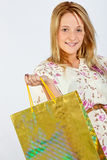 Happy young girl shopping Stock Image