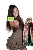 Happy young girl shopping Stock Photos