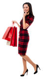 Happy young girl with shopping bags Stock Photos