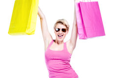 Happy young girl shopping royalty free stock image