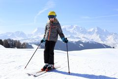 Happy young girl with ski Stock Photography