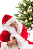 Happy young girl smiling with gift box Royalty Free Stock Image
