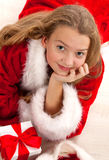 Happy young girl smiling with gift box Stock Photography