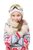 Happy young girl snowboarding on white background Stock Image