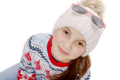 Happy young girl snowboarding on white background Royalty Free Stock Images