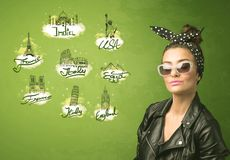 Happy young girl with sunglasses traveling to cities around the Stock Images