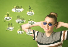 Happy young girl with sunglasses traveling to cities around the Stock Photos