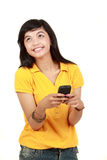 Happy young girl text message Royalty Free Stock Photo