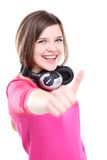 Happy young girl with thumb's up sign Royalty Free Stock Photo