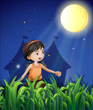 A happy young girl watching the moon vector illustration
