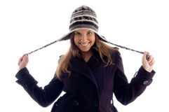 Happy young girl wearing winter clothes Stock Photos