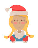 Happy Young Girl Wears Santa Claus Red Hat. Vector Stock Photos