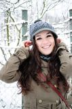 Happy young girl in the winter park Stock Photo