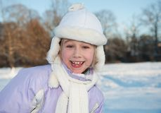 Happy young girl winter portrait Stock Image