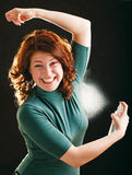 Happy Young Girl With Deodorant Stock Images