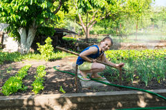 Happy young girl working in the garden Stock Photography