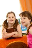 Happy young girls at home Royalty Free Stock Images