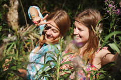 Happy young girls outdoor Royalty Free Stock Image