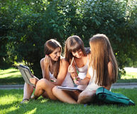 Happy young girls study in a park Stock Photos