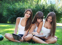 Happy young girls study in a park Royalty Free Stock Photography