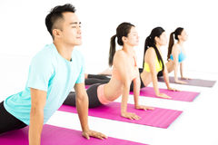 Happy young Group  doing yoga exercises Royalty Free Stock Photos