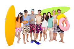 Happy young group enjoy summer vacation Stock Photos