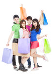 Young group holding the shopping bags Stock Images