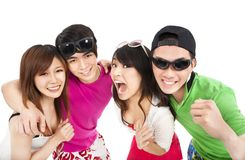 Happy young group laughing. Happy asian young group laughing Stock Photos