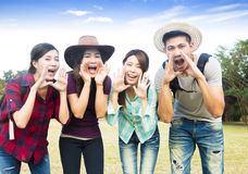 Happy young group with shouting gesture Royalty Free Stock Images