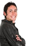 Happy young guy in black Stock Photos