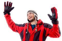 Happy young guy in winter cap Royalty Free Stock Photography