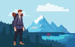 Happy hiker man in the mountains. The boat on the water, campfire next to the tourist tent on the shore. Vector. Happy young hiker man in the mountains. Fishing royalty free illustration