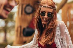 Hippie woman dancing at music festival Stock Photo