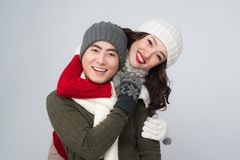 Happy young hipster couple hugging. Cold season. Romantic mood. Happy young hipster couple hugging. Cold season. Romantic mood Royalty Free Stock Photo