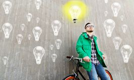 Happy young hipster man with fixed gear bike Royalty Free Stock Images