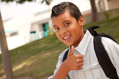 Happy Young Hispanic Boy Ready for School Royalty Free Stock Images