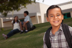 Happy Young Hispanic Boy Ready for School stock images