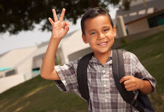 Happy Young Hispanic Boy Ready for School Stock Photo