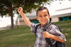 Happy Young Hispanic Boy Ready for School Royalty Free Stock Image